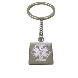 Etched Paramedic Star of Life Symbol Keychain